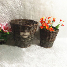 Handmade woven large wicker outdoor garden baskets for plants