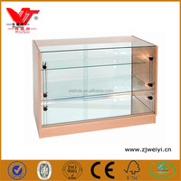Mobile phone shop glass counter design/cell phone store display shelf wooden glass cases