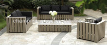 AS-3786 aluminum plastic wood Polywood sofa set with cushion for outdoor