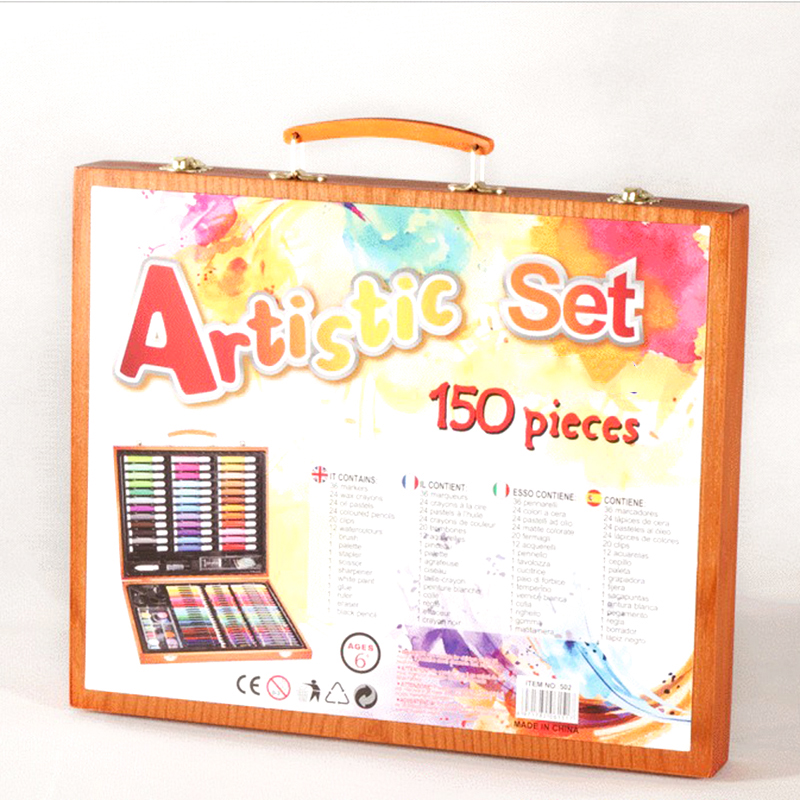 Promo Wholesale custom Wooden art set for kids drawing wooden box drawing set