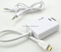 White 1080P mini hdmi to vga adapter converter with 3.5mm audio cable