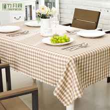 Eco-Friendly 100% Polyester Waterproof Nano Light Brown Modern Simple Custom Small Plaid Table Cloth