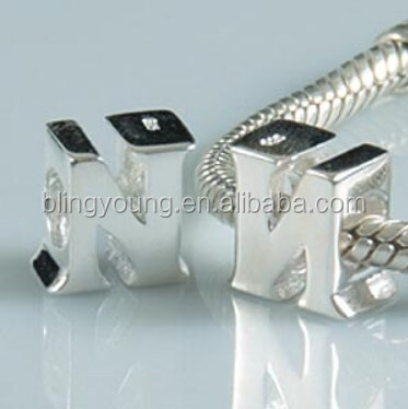 European silver plated alphabet beads wholesale