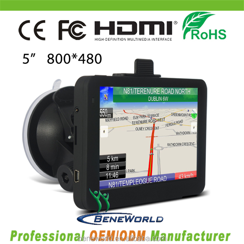 Factory New Style high resolution 5 inch auto gps with large battery