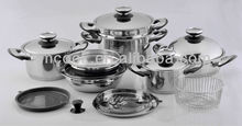 18pcs Broad Edge Thermometer Stainless Steel Cookware Set (XM-3002)