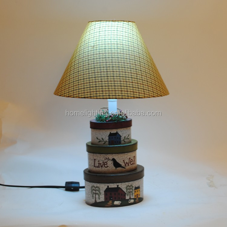 Christmas Light handmade paper table lamps small Oval base three box beautifull decoration lamp