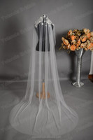 Charming Head Decoration Long Shawl Off White Wedding Veils