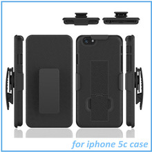 Kickstand Style Black Belt Clip Holster Kickstand Hard Cover Case For iphone 5C case