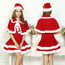 Sexy Adult Women Christmas Costume Halloween Party Sweetheart Miss Santa Cosplay Dress 3pcs/Set