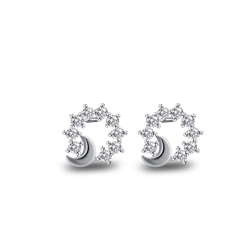 925 jewelry wholesale small fashionable shiny star moon stud silver earrings