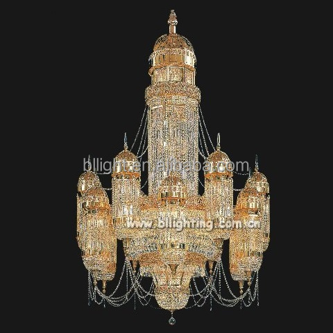 Hotel lobby decorative crystal large chandelier pendant lamp