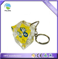 Ice-Cube Clear Acryic Key Ring /Promotional Plastic Keychain
