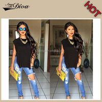 New model jeans pants high quality sexy ladies funky ripped jeans denim jeans for women