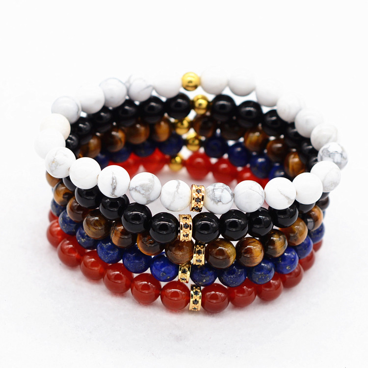 Semi-Precious Gemstone White Turquoise Red Agate Tiger Eye Lapis Stone Elastic Bead Bracelet With Crystal Bead