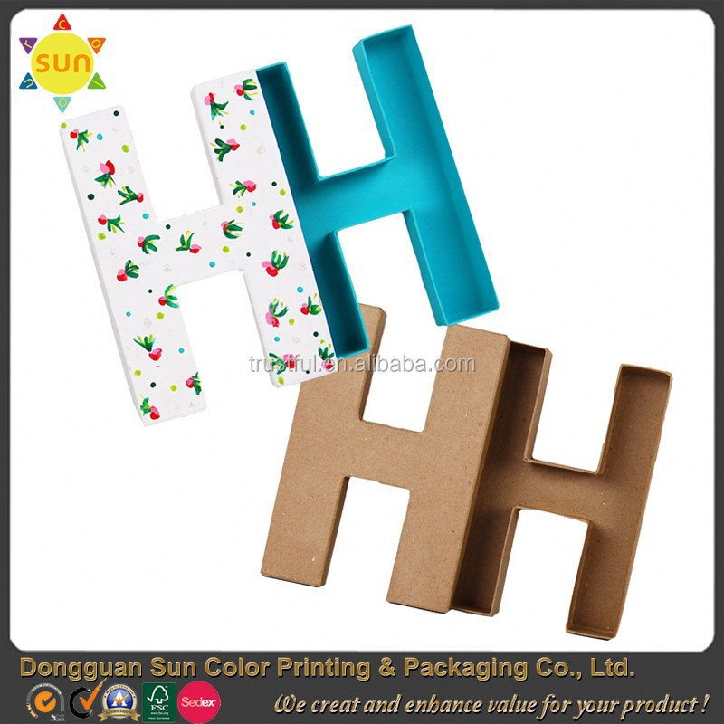 Cardboard letter shaped box unique paper letter shaped gift boxes wholesale