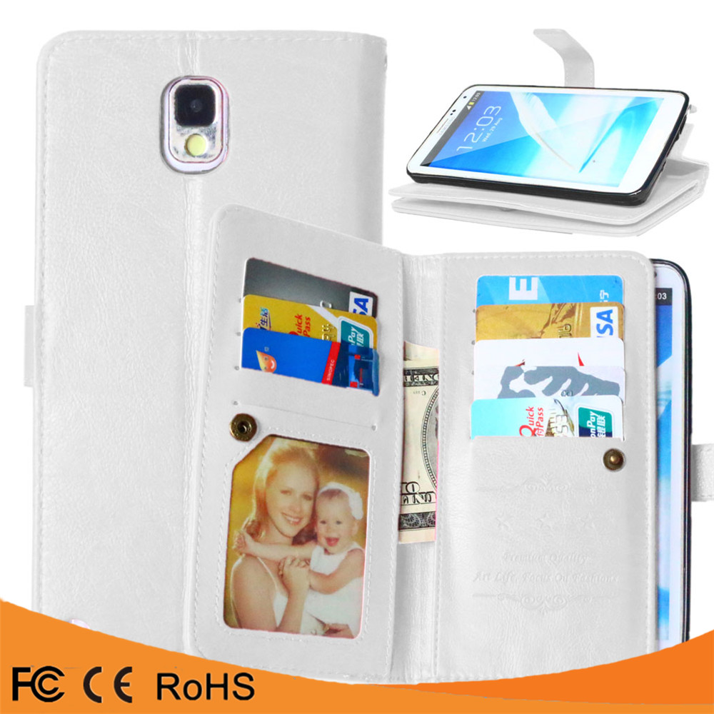Alibaba express crazy horse 9 Card Slots Flip pu+pc Leather Case For Samsung Galaxy Note 3
