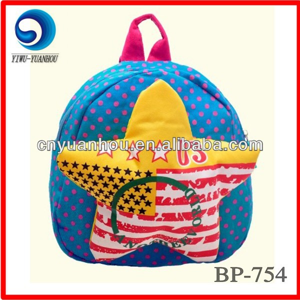 Dots Canvas Kids School Bags With Star On Front