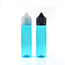 Empty 60ml 2oz Sky Blue PET Plastic Bottle with solid black childproof and Tamper ring lids for e liquid e juice