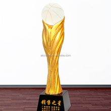 Hot fashion Golden Resin Sport Trophy with Crystal Basketball