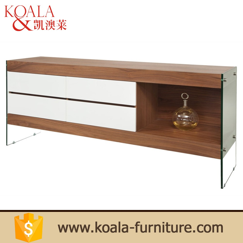 Tempered glass leg italian furniture buffet