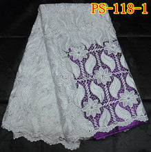 White reasonable price African cord/cupion lace fabric 5yards/lot PS-118-1
