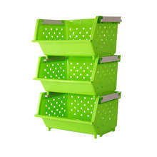 Wholesale 3 Tier Collapsible Stacking Kitchen Plastic Washing Fruit Vegetable Storage Baskets Rack With Handle