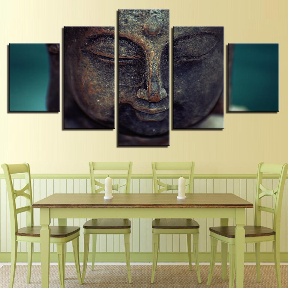 HD Print 5 pieces Buddhism buddha canvas painting living room decor ...