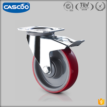 CASCOO 125mm hand trolley Industrial polyurethane casters wheel swivel with brake, polyurethane on polyolefin caster