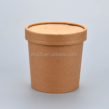 Disposable kraft paper soup bowl with paper lid