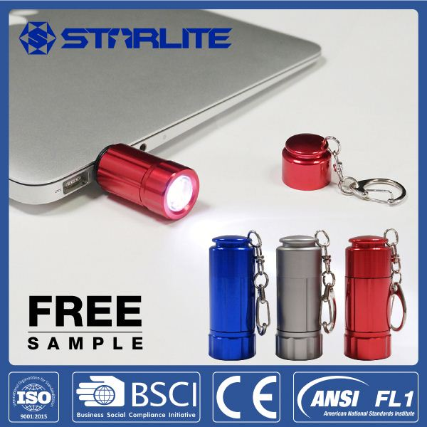STARLITE usb rechargeable 24g usb charge mini led flashlight with key chain