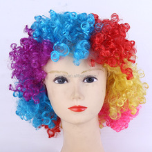 Hot sale funny colorful clown cosplay wig afro fake hair synthetic for halloween party
