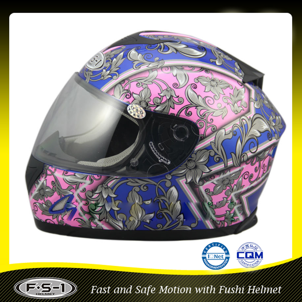 fancy Printing full face motorcycle helmet with double visor
