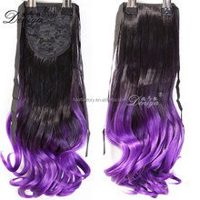 Fashion two tone ombre color charming pony tail apply hair extension long curly horse tail hair pieces