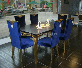 Royal blue wooden dining room set XYN2844 View classic luxury