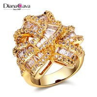 New African Design Wedding Luxury Style Baguette Zircon Crystal Women CZ Jewelry Ring