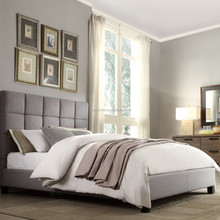 soft bed in fabric or leather with upholstered padding on headboard XYN1710