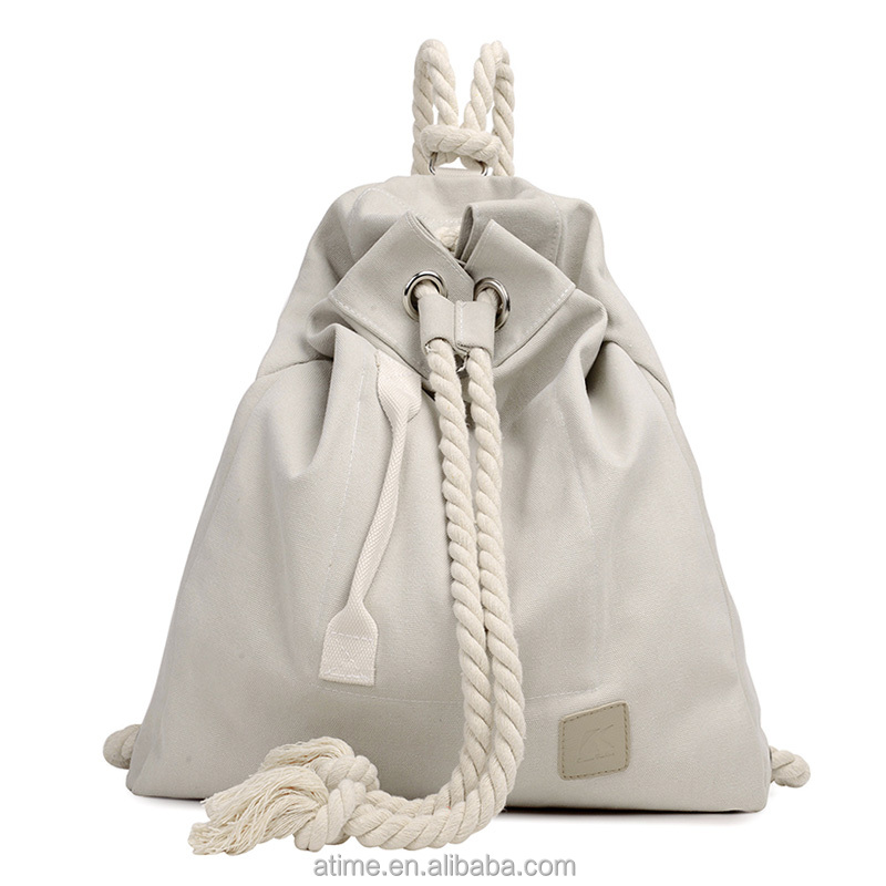 canvas backpack wholesale drawstring rope backpack