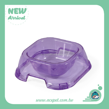 679-A Plastic Crystal Clear Square Pet Bowl Dog Cat Bowl