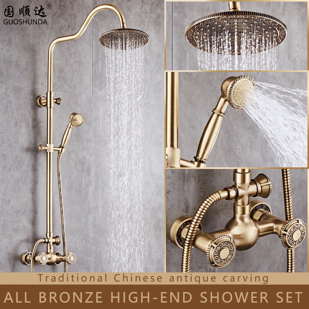 Traditional retro hot/cold water mixer rainfall shower heads without slide bar shower set
