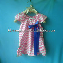 Wholesales light pink top chevron dress with big bow yiwu clothes