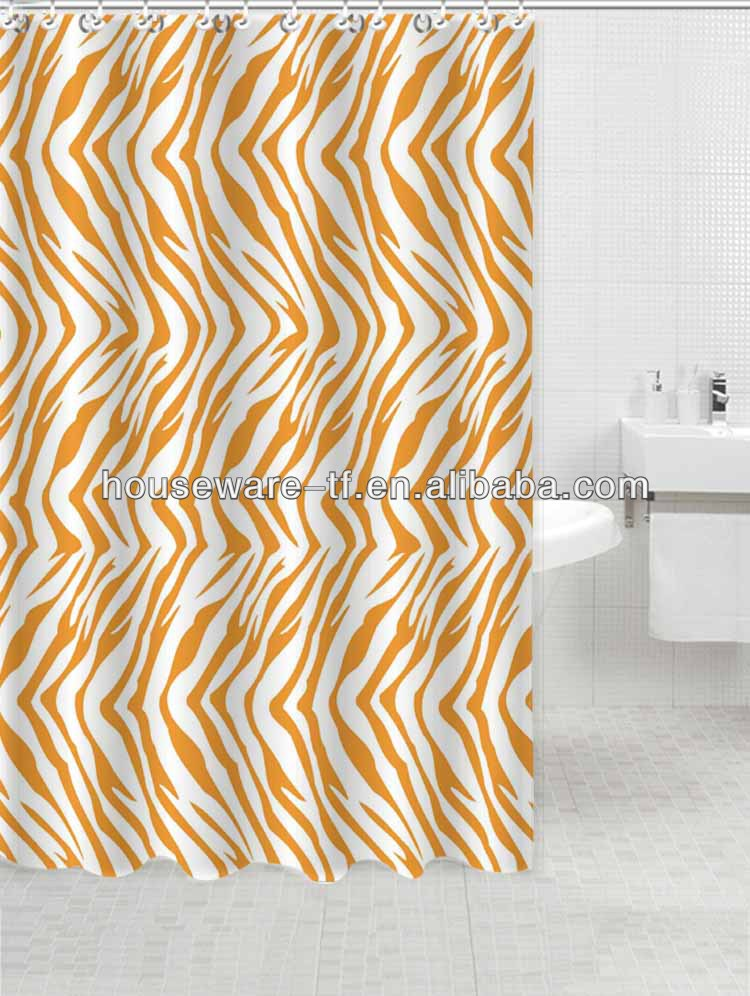 zebra lines printed polyester shower curtain with fashion design