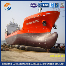 Inflatable ship launching rubber cushion