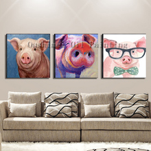Free Shipping Top Supplier Wholesale Hand-painted Mini Pigs Oil Painting On Canvas Hand-painted Cute Pig Series Oil Painting