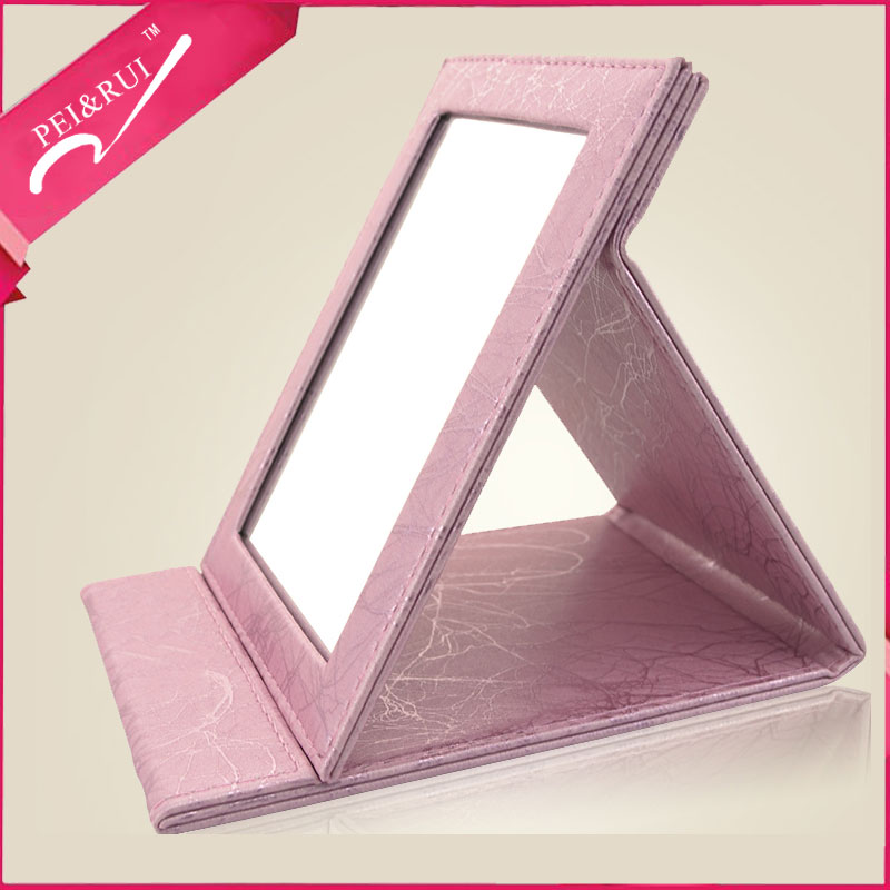 Folding Square Mirror Soft PU Cover Desktop Makeup Mirror
