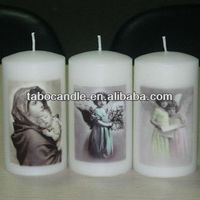 plain white religious candle