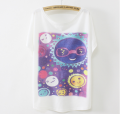 New ladies batwing sleeve latest design girl summer fashion fancy print t shirt
