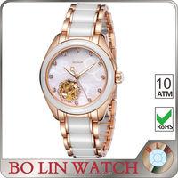 Ceramic ladies wrist watches diamond Rose Gold watch Skeleton watch