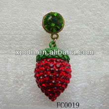 2013 Crystal Strawberry Dangle Haadset Jack Dust Plug For Iphones