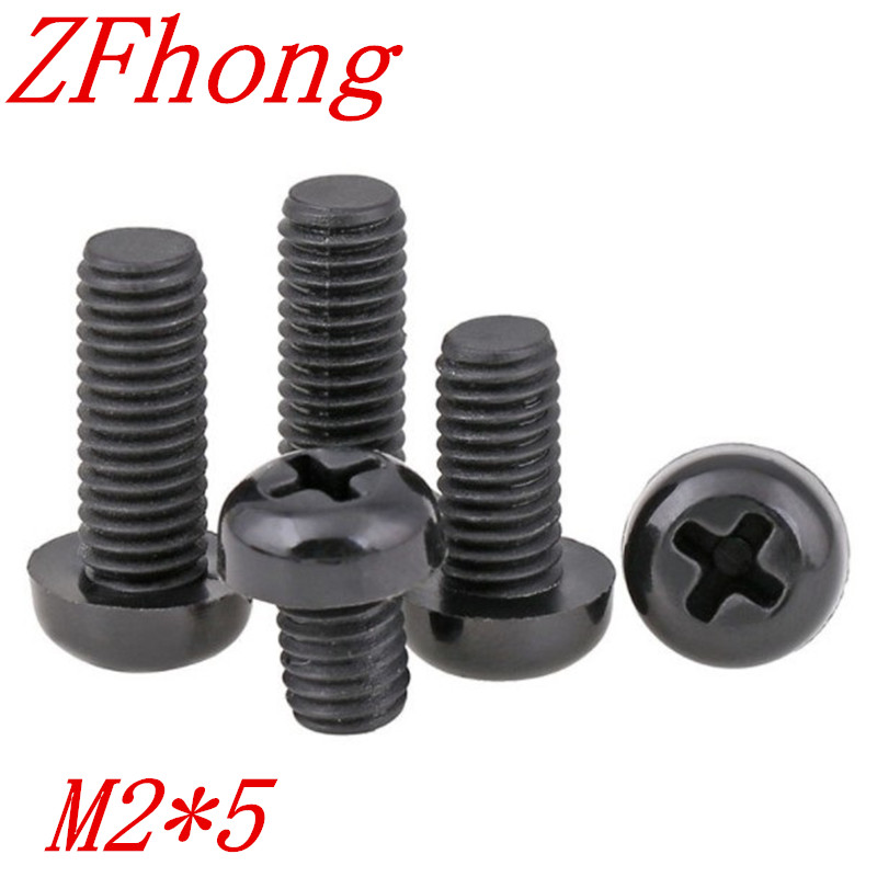 1000pcs/bag M2*5 M2x5 Phillips black nylon pan head <strong>screw</strong>