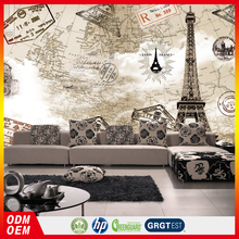 Around the World Paris Eiffel Tower design map silk wallpaper murals